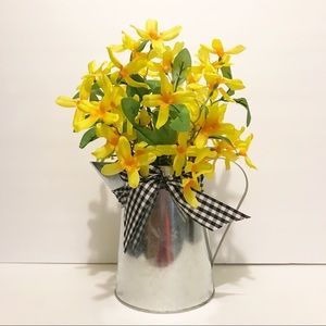 Galvanized pitcher with Daffodils